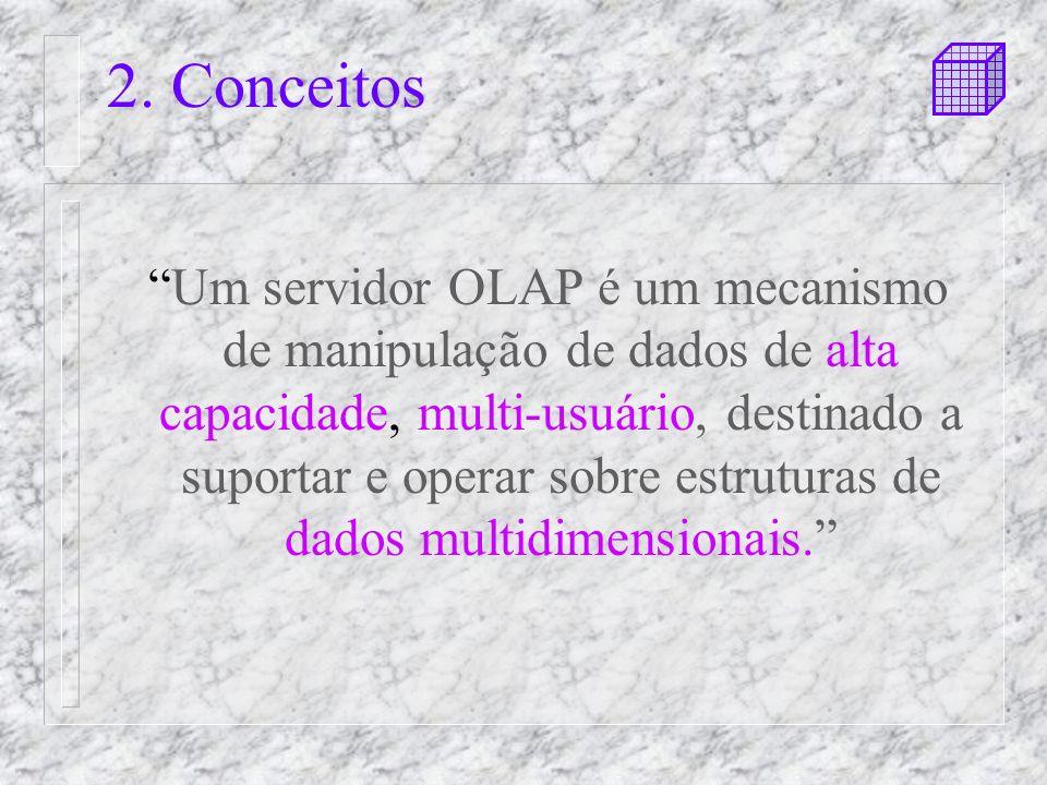 2. Conceitos Um servidor OLAP é um mecanismo de manipulação de dados de alta capacidade, multi-usuário, destinado a suportar e operar sobre estruturas