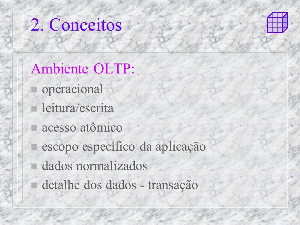 2. Conceitos Ambiente OLTP: n operacional n leitura/escrita n acesso atômico n escopo específico da aplicação n dados normalizados n detalhe dos dados