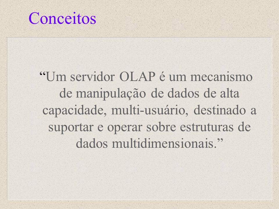 Conceitos Um servidor OLAP é um mecanismo de manipulação de dados de alta capacidade, multi-usuário, destinado a suportar e operar sobre estruturas de