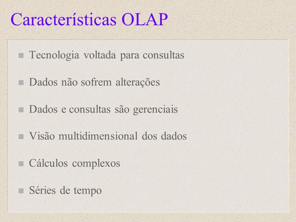 Características OLAP n Tecnologia voltada para consultas n Dados não sofrem alterações n Dados e consultas são gerenciais n Visão multidimensional dos