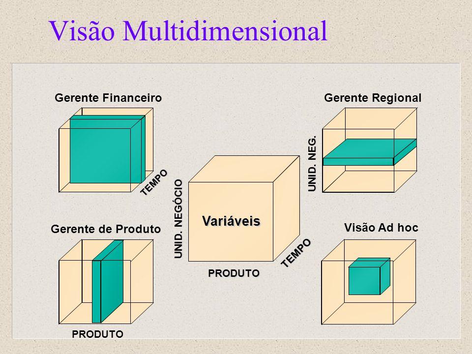 Visão Multidimensional Gerente Regional Gerente de Produto Visão Ad hoc Gerente Financeiro TEMPO PRODUTO Variáveis TEMPO PRODUTO UNID. NEGÓCIO UNID. N