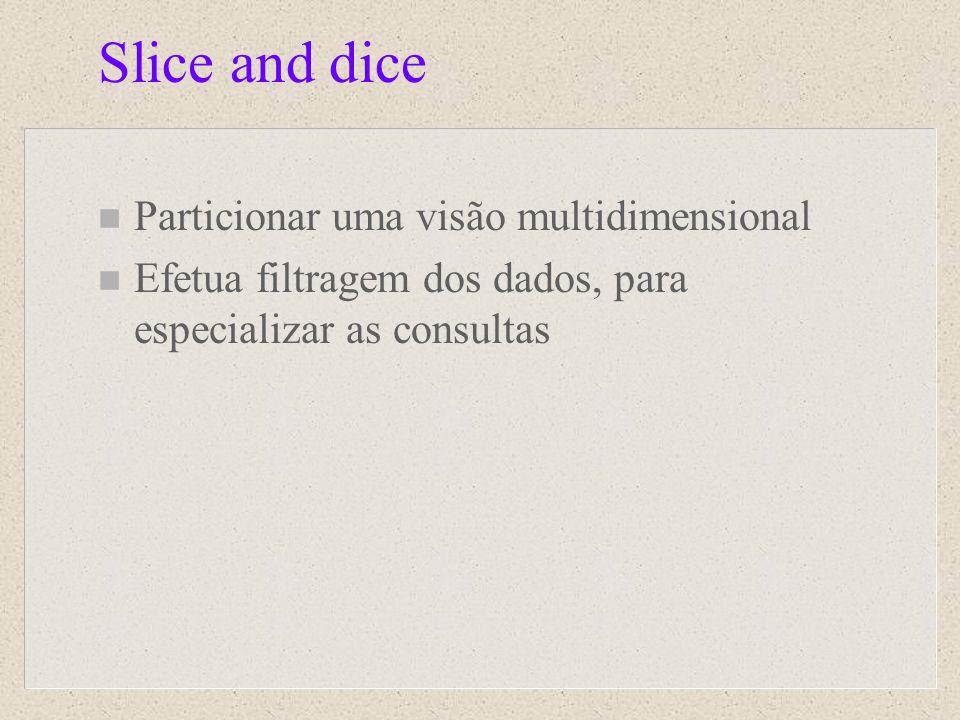 Slice and dice n Particionar uma visão multidimensional n Efetua filtragem dos dados, para especializar as consultas