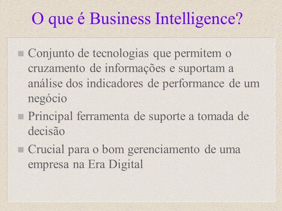 O que é Business Intelligence? n Conjunto de tecnologias que permitem o cruzamento de informações e suportam a análise dos indicadores de performance