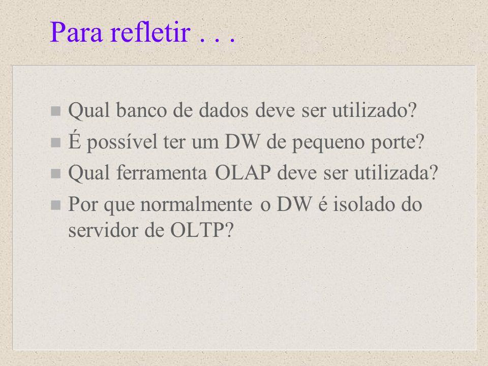 Para refletir... n Qual banco de dados deve ser utilizado? n É possível ter um DW de pequeno porte? n Qual ferramenta OLAP deve ser utilizada? n Por q