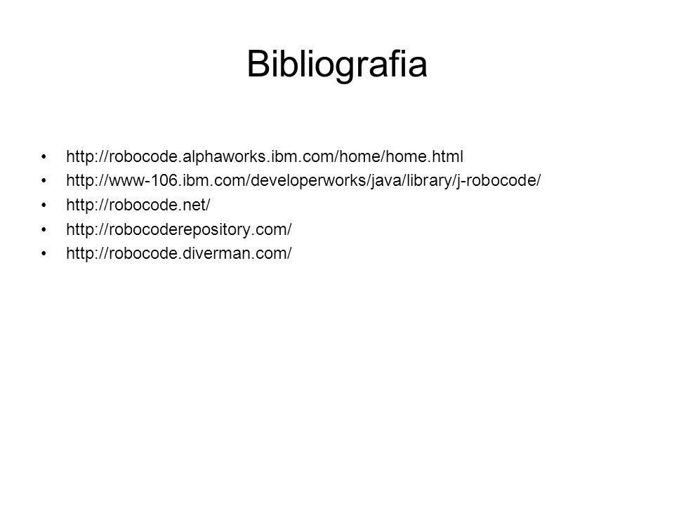 Bibliografia http://robocode.alphaworks.ibm.com/home/home.html http://www-106.ibm.com/developerworks/java/library/j-robocode/ http://robocode.net/ htt
