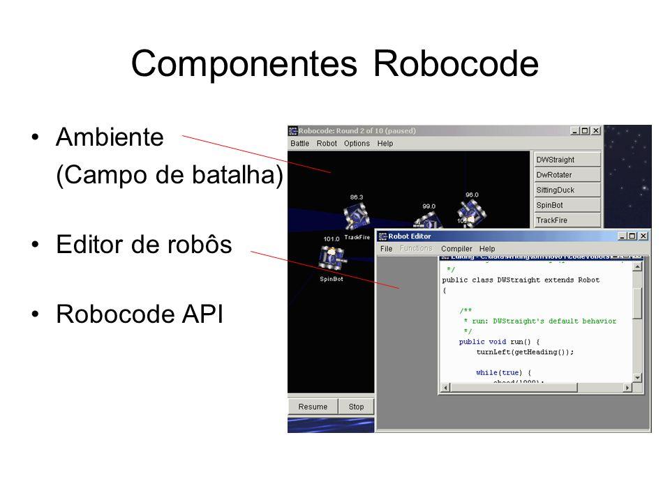 Criando um time de robôs (Exemplo 1) package sampleteam; import robocode.*; import java.awt.Color; import java.io.*; public class MyFirstLeader extends TeamRobot { public void run() { setColors(Color.red,Color.red,Color.red); try { broadcastMessage(newRobotColors(Color.red, Color.red, Color.red)); } catch (IOException e) { } while(true) { setTurnRadarRight(10000); ahead(100); back(100); }