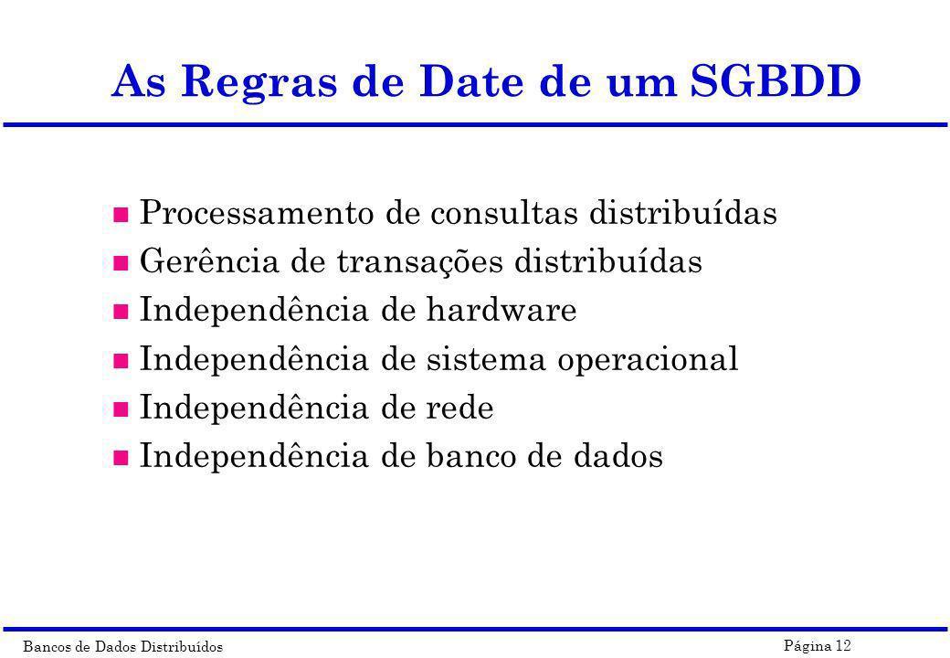 Bancos de Dados Distribuídos Página 12 As Regras de Date de um SGBDD n Processamento de consultas distribuídas n Gerência de transações distribuídas n
