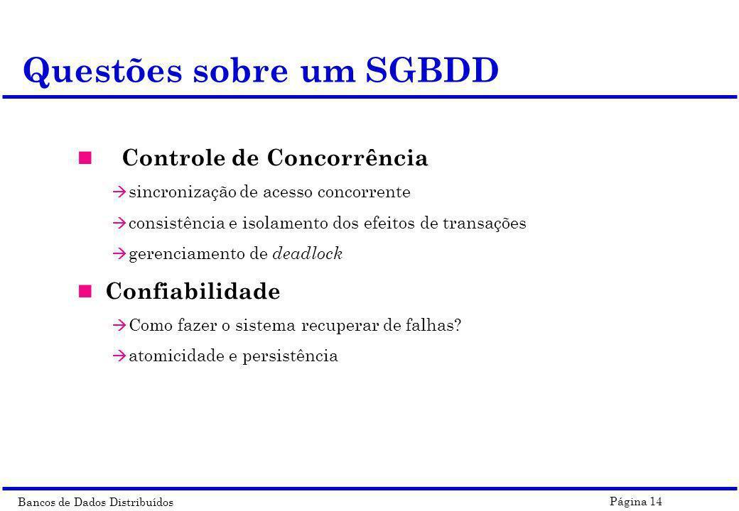 Bancos de Dados Distribuídos Página 14 Questões sobre um SGBDD Controle de Concorrência à sincronização de acesso concorrente à consistência e isolame