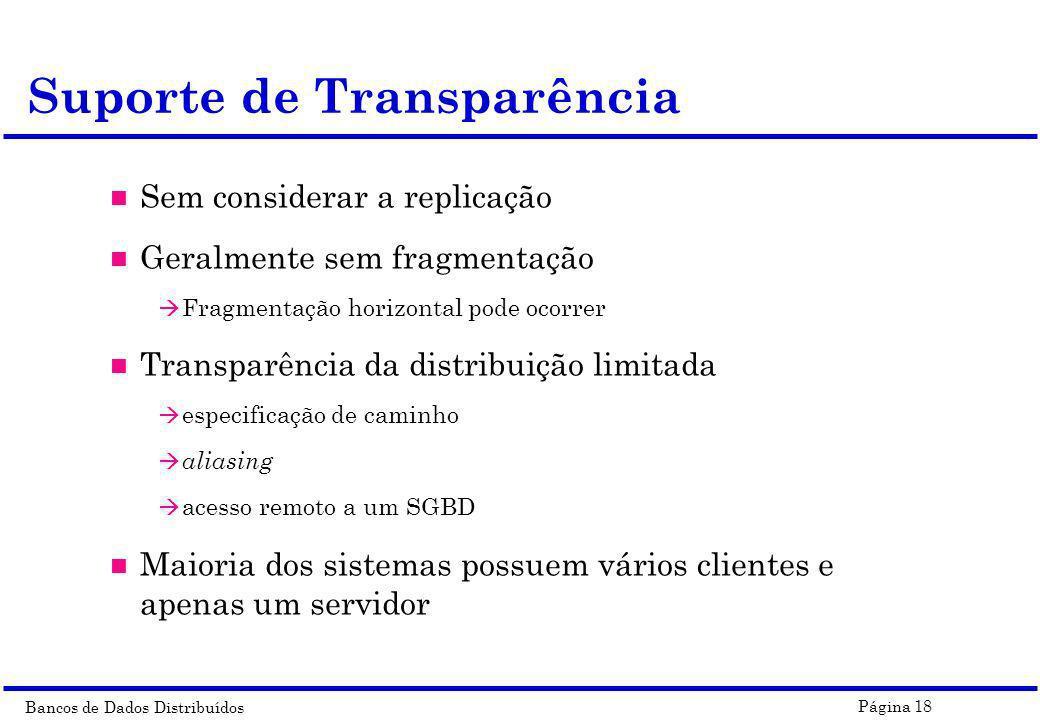 Bancos de Dados Distribuídos Página 18 Suporte de Transparência n Sem considerar a replicação n Geralmente sem fragmentação à Fragmentação horizontal