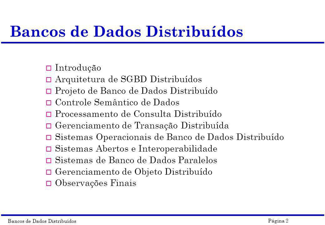 Bancos de Dados Distribuídos Página 43 Arquitetura de um SGBD Distribuído n ES : External Schema n GCS : Global Conceptual Schema n LCS : Local Conceptual Schema n LIS : Local Internal Schema