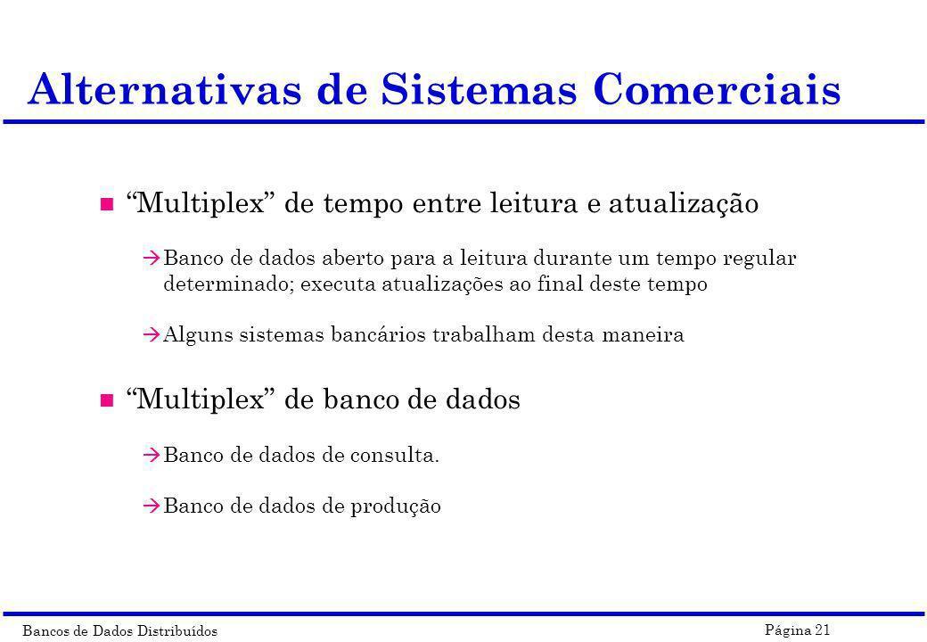 Bancos de Dados Distribuídos Página 21 Alternativas de Sistemas Comerciais n Multiplex de tempo entre leitura e atualização à Banco de dados aberto pa