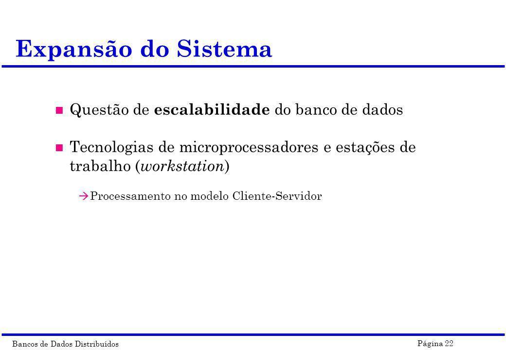 Bancos de Dados Distribuídos Página 22 Expansão do Sistema n Questão de escalabilidade do banco de dados n Tecnologias de microprocessadores e estaçõe