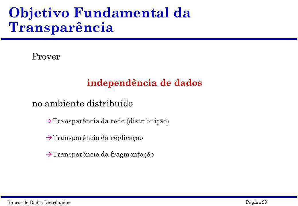 Bancos de Dados Distribuídos Página 23 Objetivo Fundamental da Transparência Prover independência de dados no ambiente distribuído à Transparência da