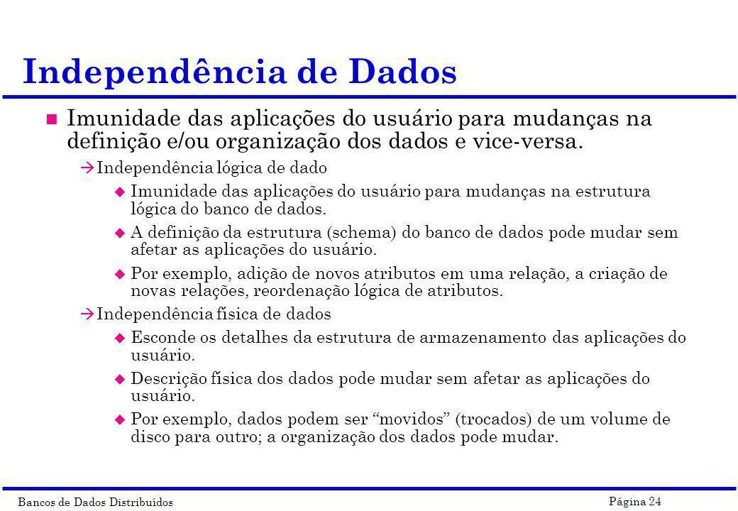 Bancos de Dados Distribuídos Página 24 n Imunidade das aplicações do usuário para mudanças na definição e/ou organização dos dados e vice-versa. à Ind