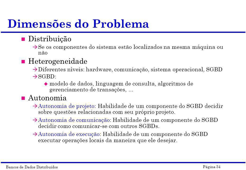 Bancos de Dados Distribuídos Página 34 Dimensões do Problema n Distribuição à Se os componentes do sistema estão localizados na mesma máquina ou não n