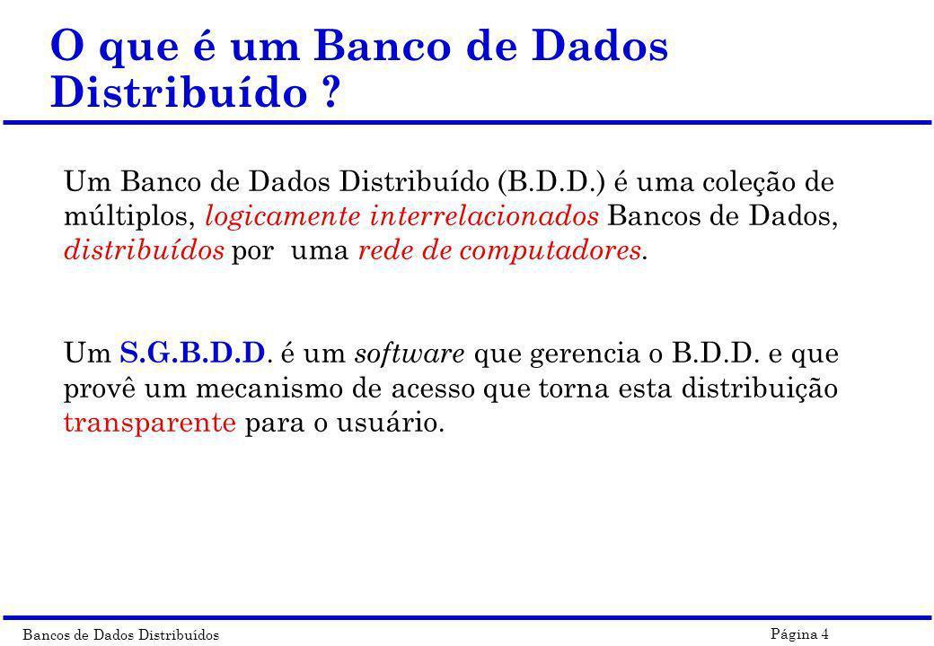 Bancos de Dados Distribuídos Página 35 Alternativas de Implementação do DBMS Distribuição Heterogeneidade Autonomia Distributed homogeneous DBMS Distributed, homogeneous, federated DBMS Distributed, homogeneous, multi-DBMS Logically integrated and homogeneous multiple DBMSs Distributed heterogeneous DBMS Distributed heterogeneous federated DBMS Heterogeneous integrated DBMS Single site heterogeneous federated DBMS Heterogeneous multi-DBMS Distributed heterogeneous multi-DBMS Multi-DBMS Homogeneous federated DBMS