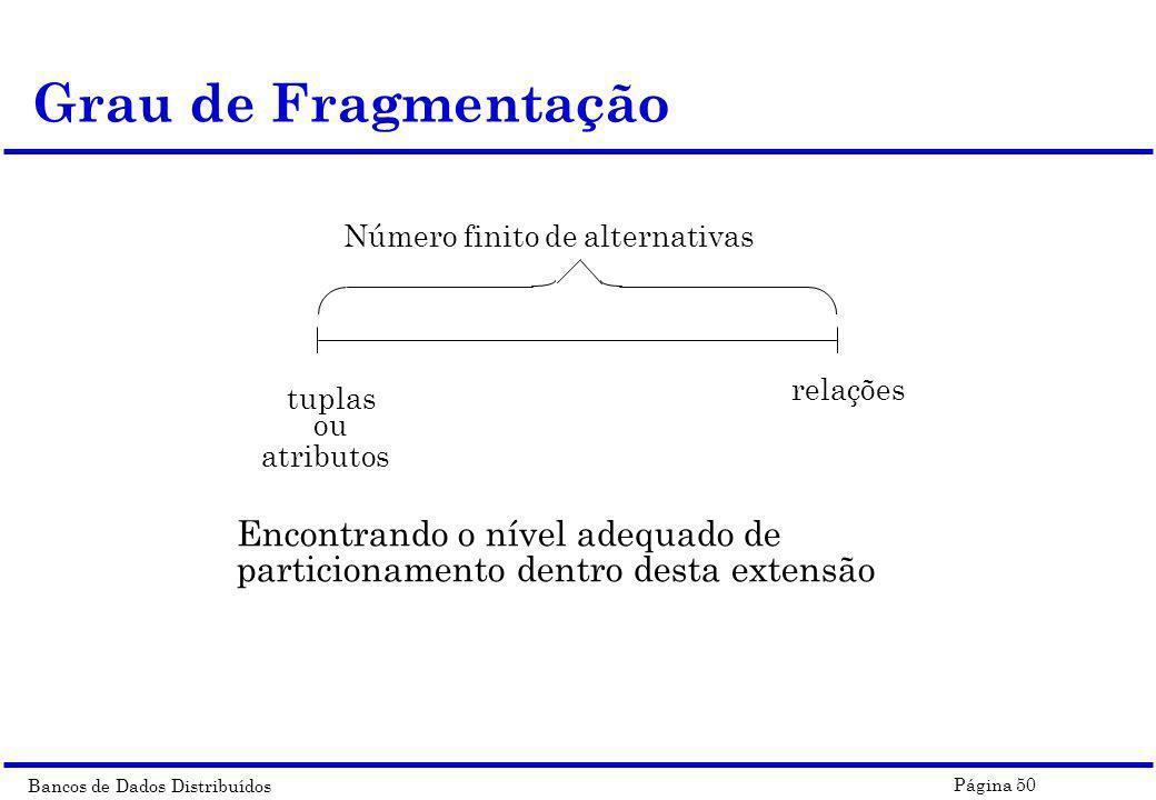 Bancos de Dados Distribuídos Página 50 Grau de Fragmentação Encontrando o nível adequado de particionamento dentro desta extensão tuplas ou atributos