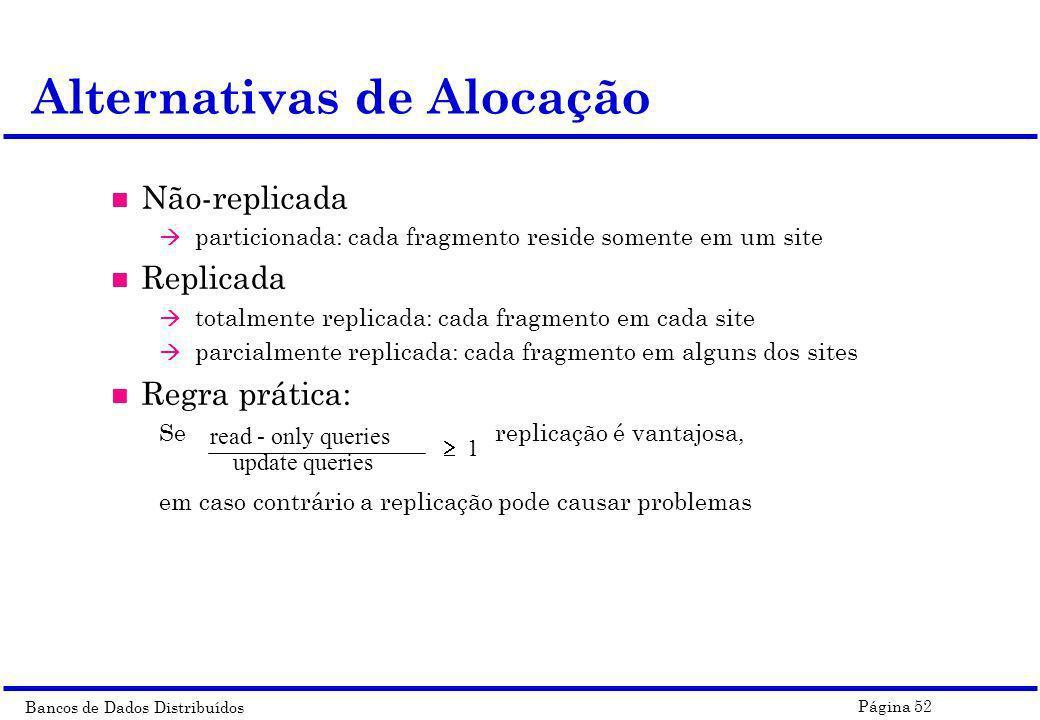 Bancos de Dados Distribuídos Página 52 Alternativas de Alocação n Não-replicada à particionada: cada fragmento reside somente em um site n Replicada à