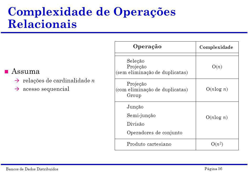 Bancos de Dados Distribuídos Página 56 n Assuma à relações de cardinalidade n à acesso sequencial Complexidade de Operações Relacionais Operação Compl