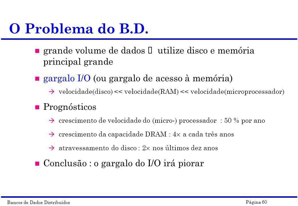 Bancos de Dados Distribuídos Página 60 grande volume de dados ï utilize disco e memória principal grande n gargalo I/O (ou gargalo de acesso à memória