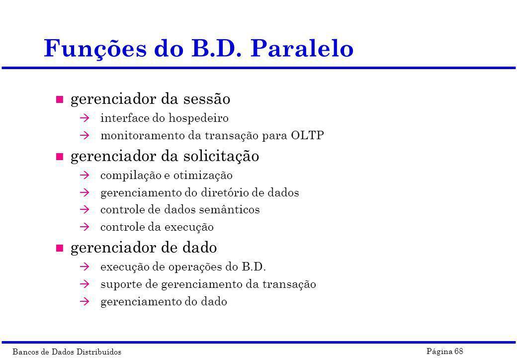 Bancos de Dados Distribuídos Página 68 Funções do B.D. Paralelo n gerenciador da sessão à interface do hospedeiro à monitoramento da transação para OL