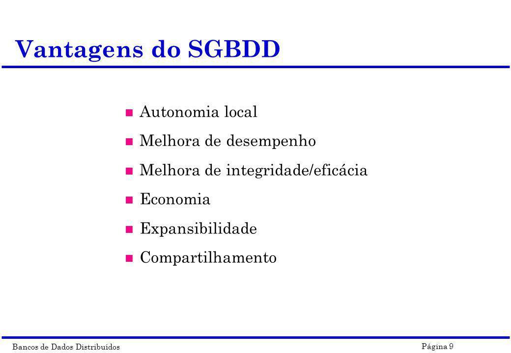 Bancos de Dados Distribuídos Página 9 n Autonomia local n Melhora de desempenho n Melhora de integridade/eficácia n Economia n Expansibilidade n Compa