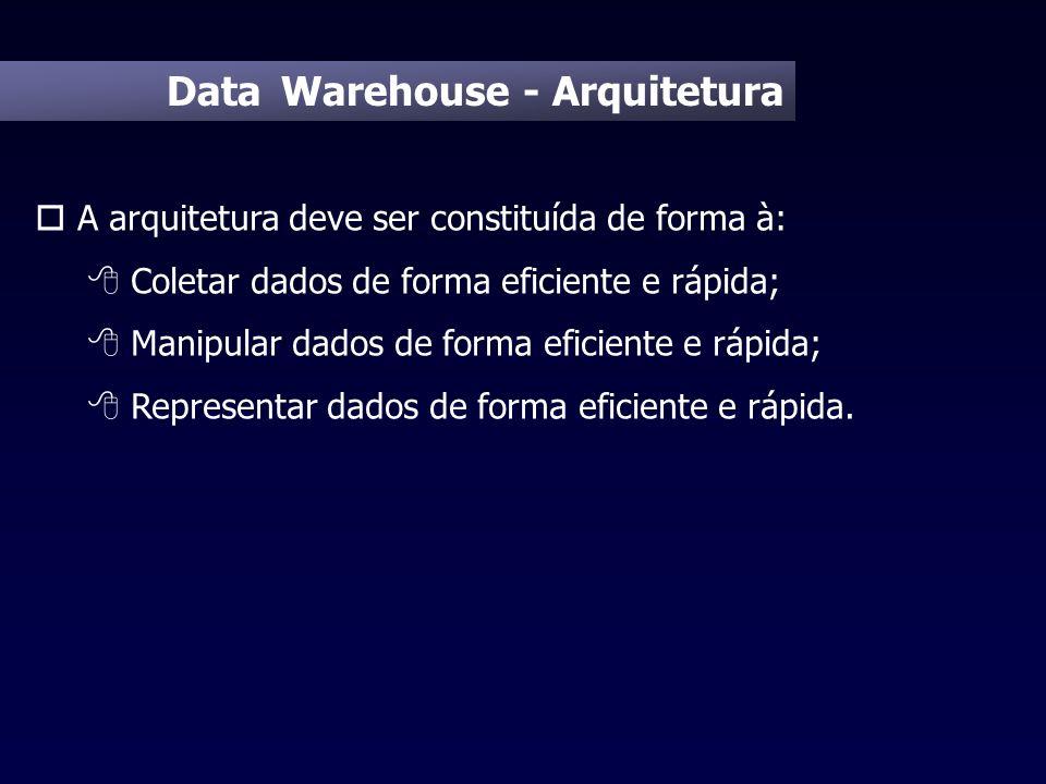 Data Warehouse - Arquitetura o A arquitetura deve ser constituída de forma à: 8 Coletar dados de forma eficiente e rápida; 8 Manipular dados de forma