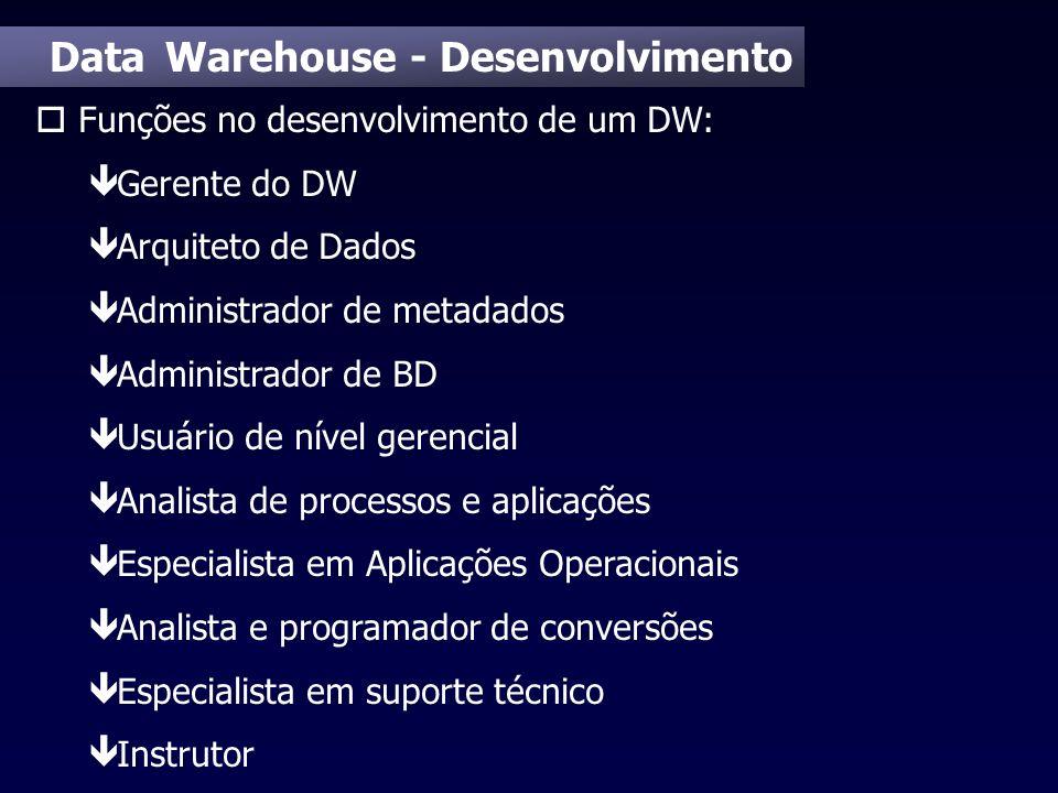 Data Warehouse - Desenvolvimento o Funções no desenvolvimento de um DW: ê Gerente do DW ê Arquiteto de Dados ê Administrador de metadados ê Administra