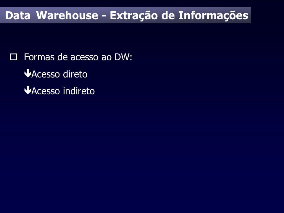 Data Warehouse - Extração de Informações o Formas de acesso ao DW: ê Acesso direto ê Acesso indireto