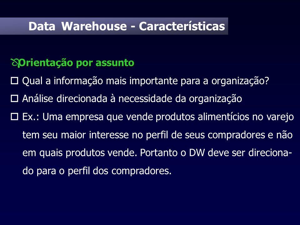 Data Warehouse - Características Orientação por assunto Ô Orientação por assunto o Qual a informação mais importante para a organização? o Análise dir