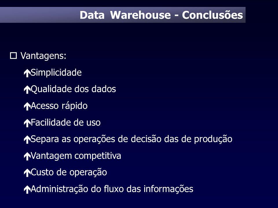 Data Warehouse - Conclusões o Vantagens: é Simplicidade é Qualidade dos dados é Acesso rápido é Facilidade de uso é Separa as operações de decisão das