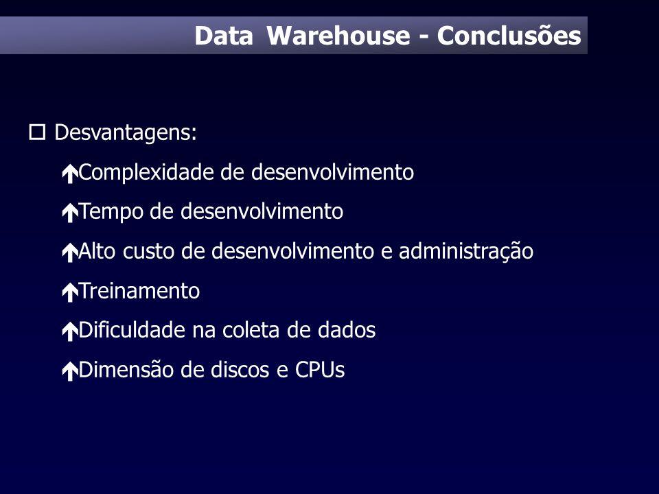 Data Warehouse - Conclusões o Desvantagens: é Complexidade de desenvolvimento é Tempo de desenvolvimento é Alto custo de desenvolvimento e administraç