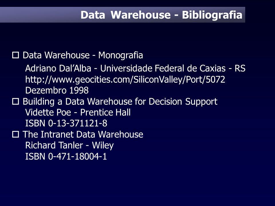 Data Warehouse - Bibliografia o Data Warehouse - Monografia Adriano DalAlba - Universidade Federal de Caxias - RS http://www.geocities.com/SiliconVall