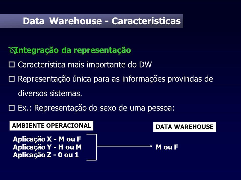 Data Warehouse - Características Integração da representação Ô Integração da representação o Característica mais importante do DW o Representação únic