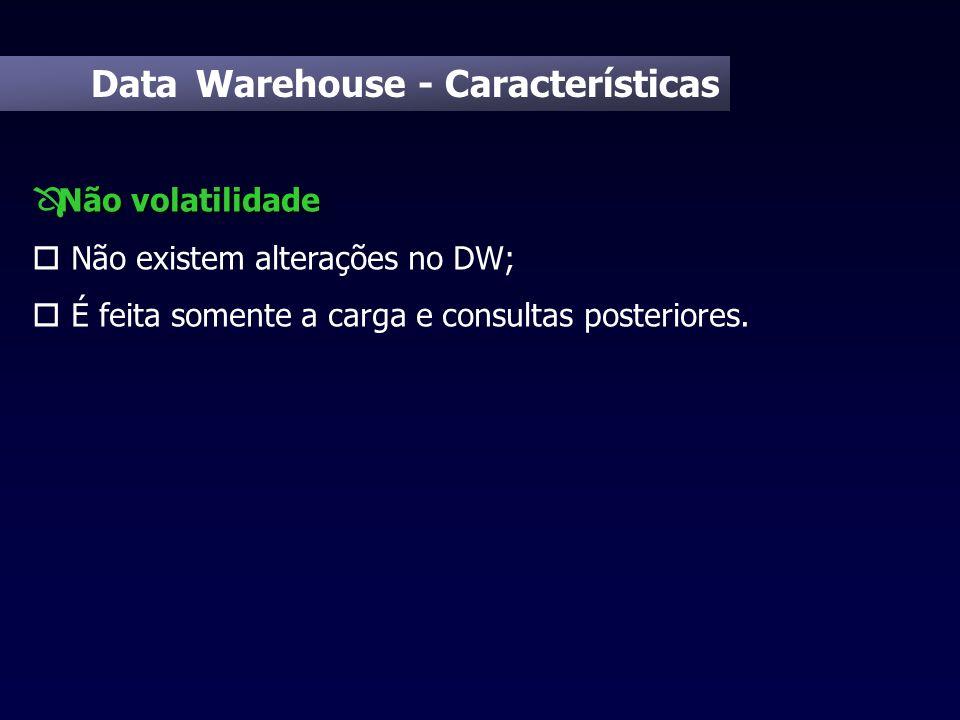 Data Warehouse - Características Não volatilidade Ô Não volatilidade o Não existem alterações no DW; o É feita somente a carga e consultas posteriores