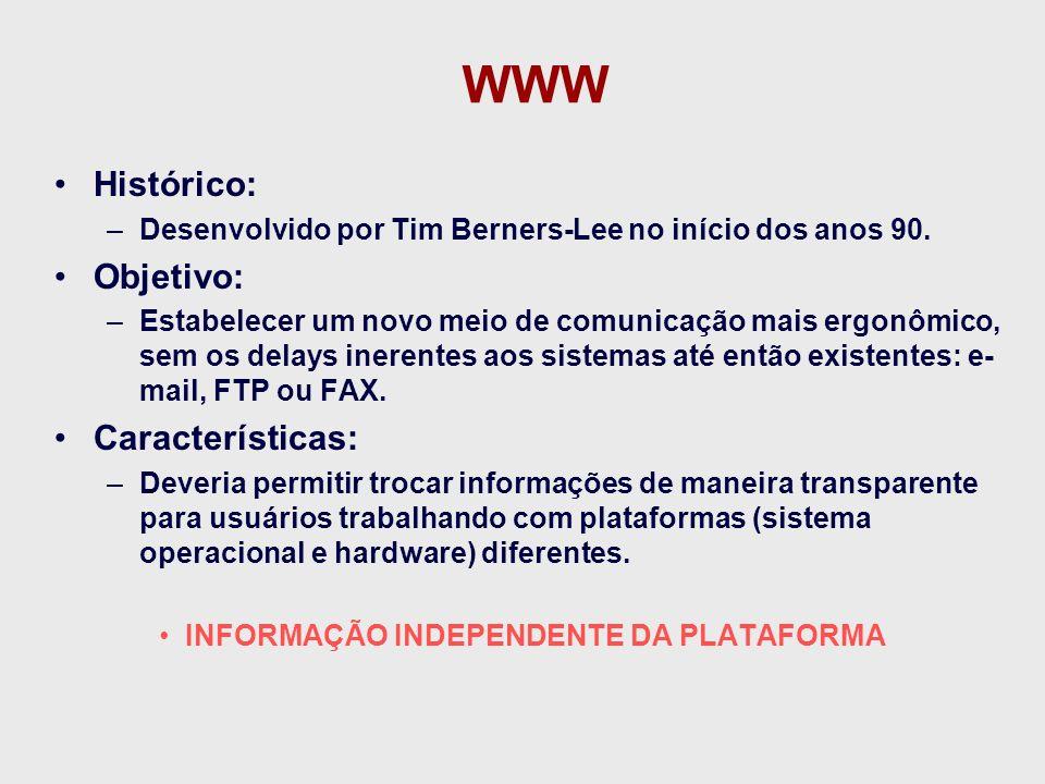 Definições WWW: –Sistema de hipermídia interativo construído originalmente sobre a Internet.