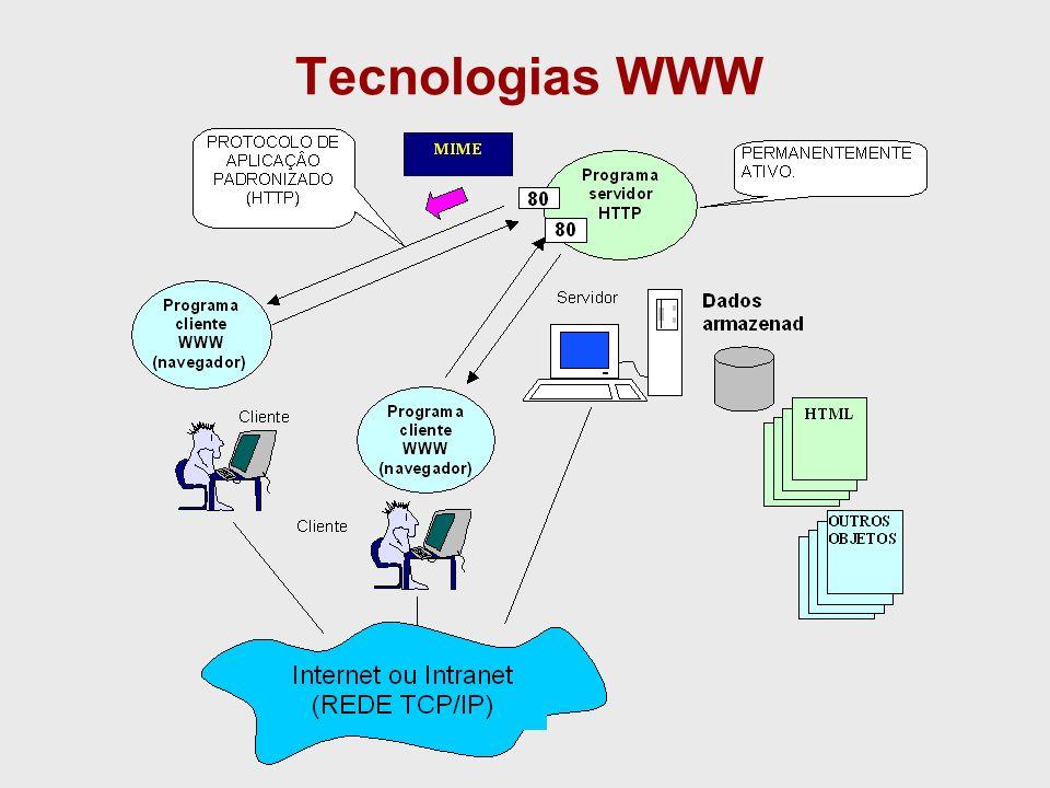 Padrões Padrões associados ao sistema WWW: HTTP: –HyperText Transfer Protocol –Protocolo de Comunicação HTML: –Hypertext Markup Language –Linguagem definida de acordo com SGML