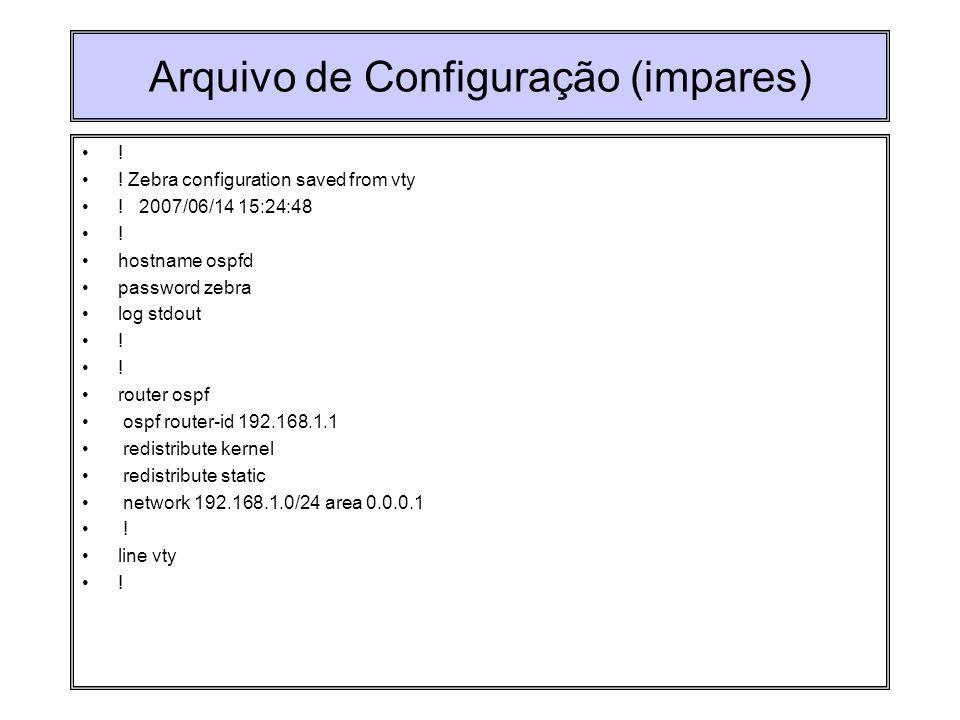 Arquivo de Configuração (impares) ! ! Zebra configuration saved from vty ! 2007/06/14 15:24:48 ! hostname ospfd password zebra log stdout ! router osp