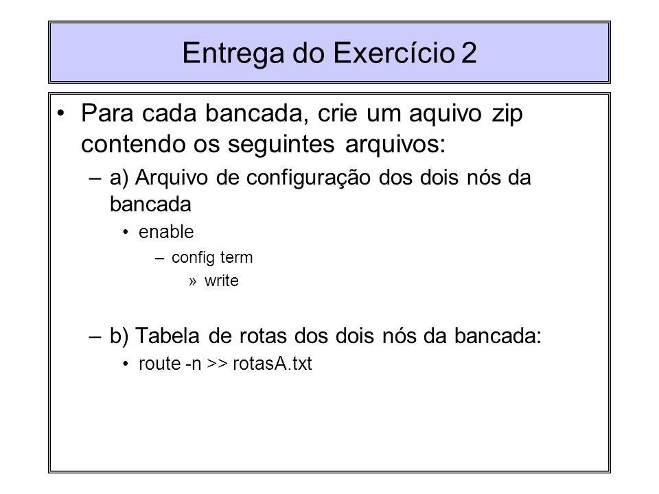 Entrega do Exercício 2 Para cada bancada, crie um aquivo zip contendo os seguintes arquivos: –a) Arquivo de configuração dos dois nós da bancada enabl