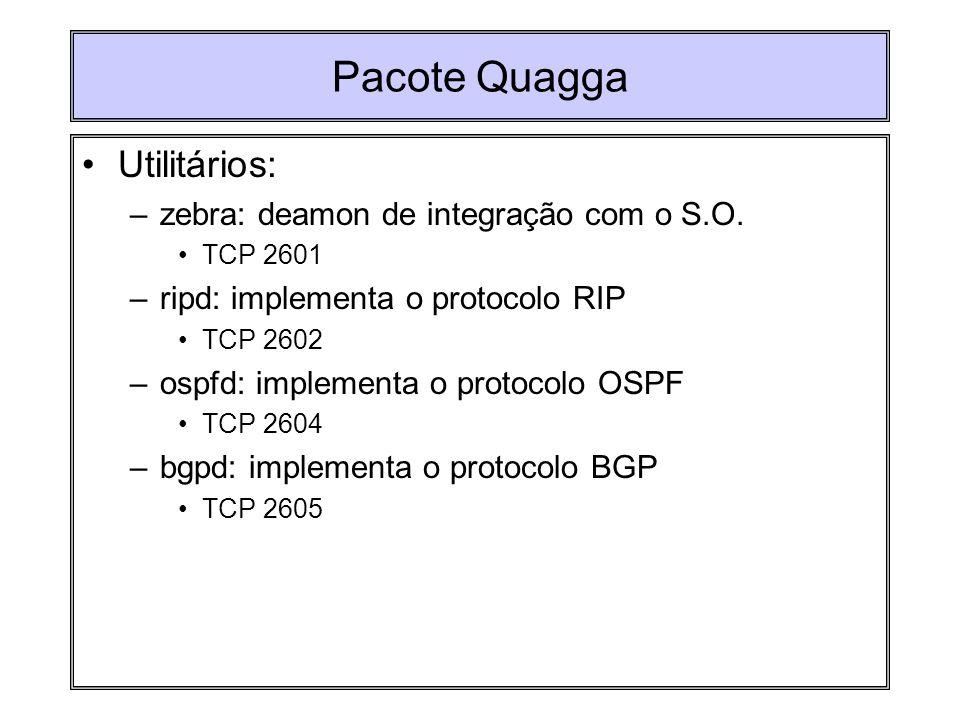 Pacote Quagga Utilitários: –zebra: deamon de integração com o S.O. TCP 2601 –ripd: implementa o protocolo RIP TCP 2602 –ospfd: implementa o protocolo