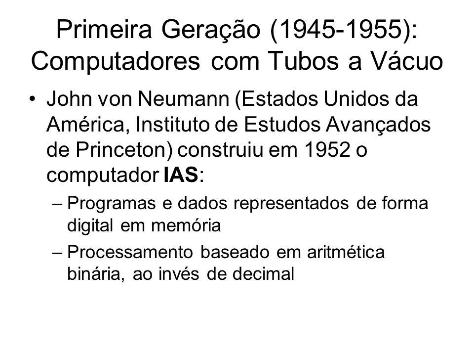 Primeira Geração (1945-1955): Computadores com Tubos a Vácuo John von Neumann (Estados Unidos da América, Instituto de Estudos Avançados de Princeton)