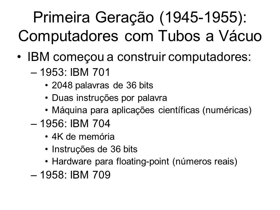 Primeira Geração (1945-1955): Computadores com Tubos a Vácuo IBM começou a construir computadores: –1953: IBM 701 2048 palavras de 36 bits Duas instru