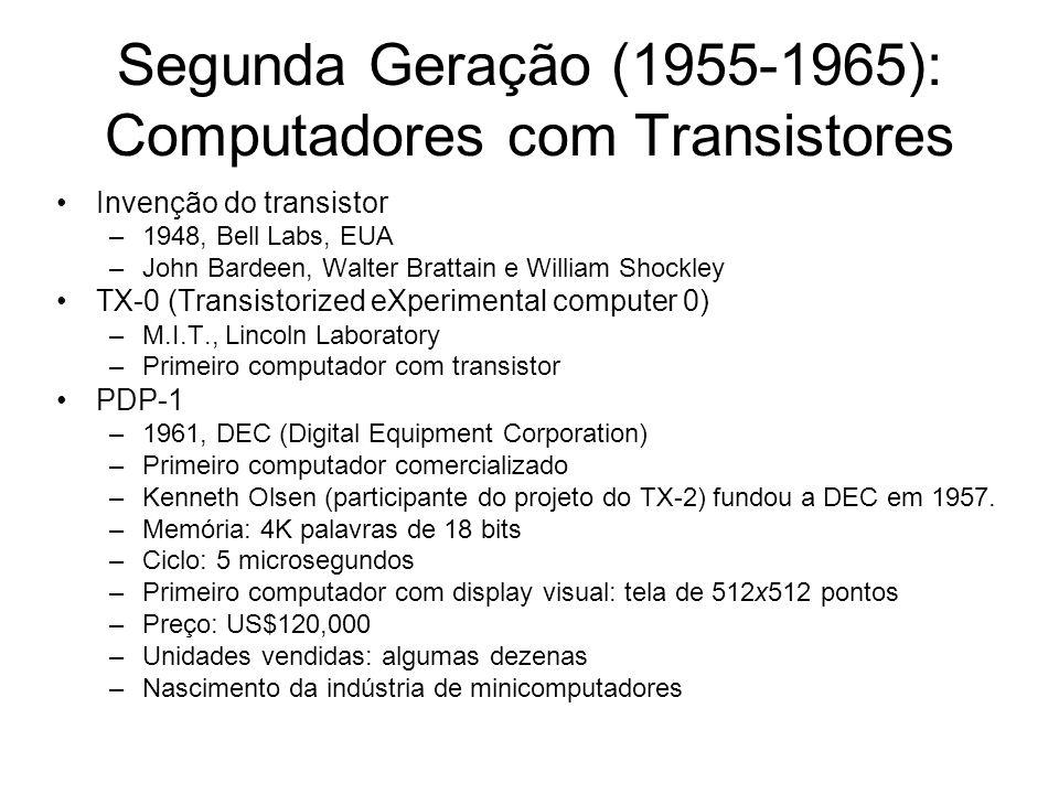 Segunda Geração (1955-1965): Computadores com Transistores Invenção do transistor –1948, Bell Labs, EUA –John Bardeen, Walter Brattain e William Shock