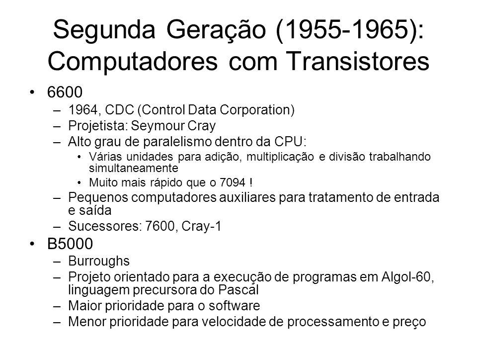 Segunda Geração (1955-1965): Computadores com Transistores 6600 –1964, CDC (Control Data Corporation) –Projetista: Seymour Cray –Alto grau de paraleli