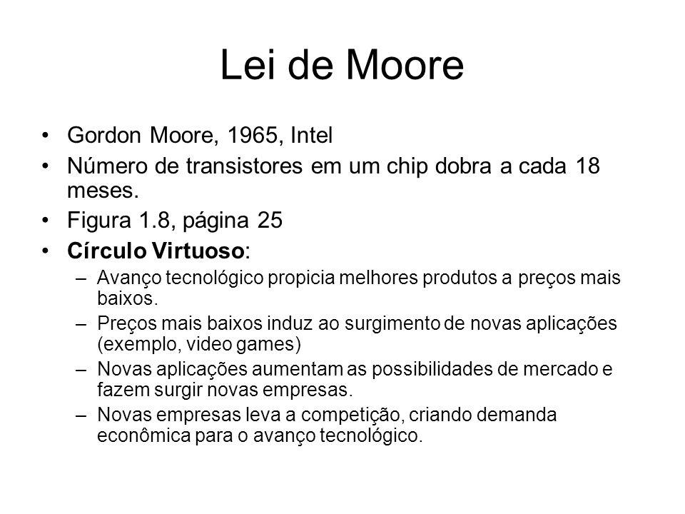 Lei de Moore Gordon Moore, 1965, Intel Número de transistores em um chip dobra a cada 18 meses. Figura 1.8, página 25 Círculo Virtuoso: –Avanço tecnol