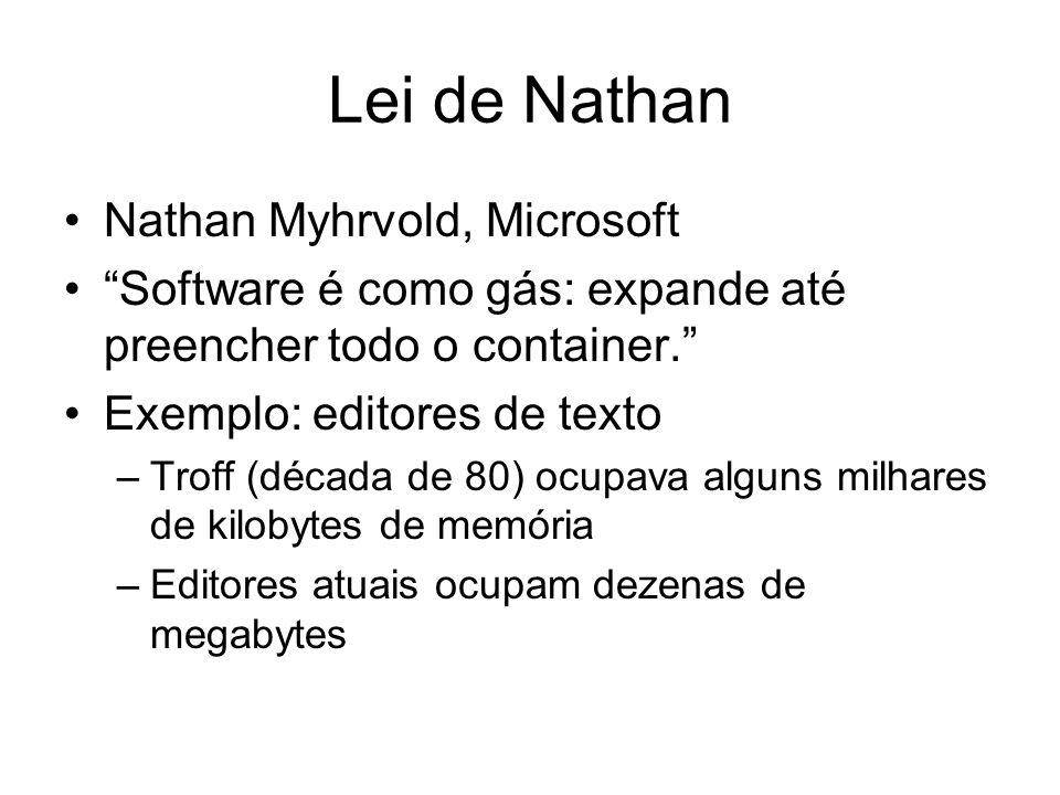 Lei de Nathan Nathan Myhrvold, Microsoft Software é como gás: expande até preencher todo o container. Exemplo: editores de texto –Troff (década de 80)