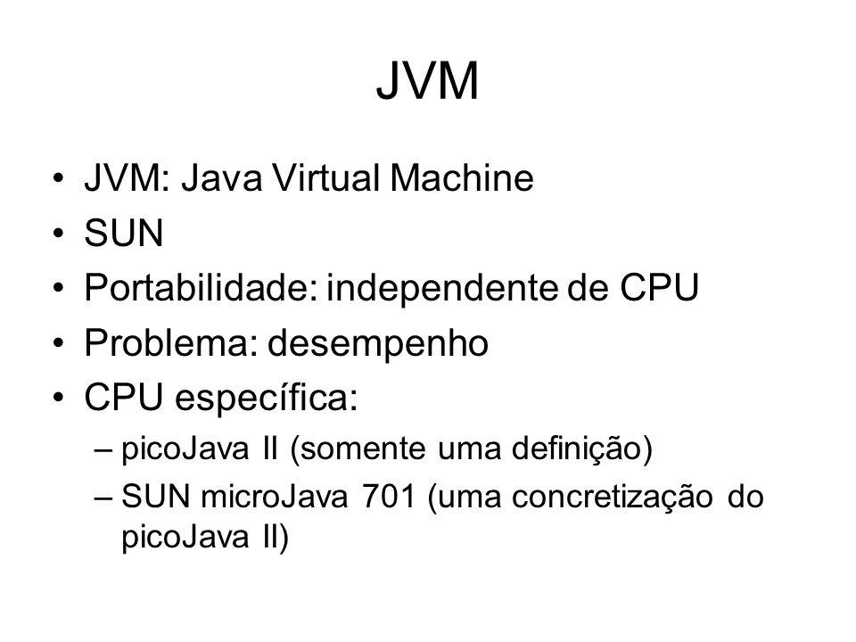 JVM JVM: Java Virtual Machine SUN Portabilidade: independente de CPU Problema: desempenho CPU específica: –picoJava II (somente uma definição) –SUN mi