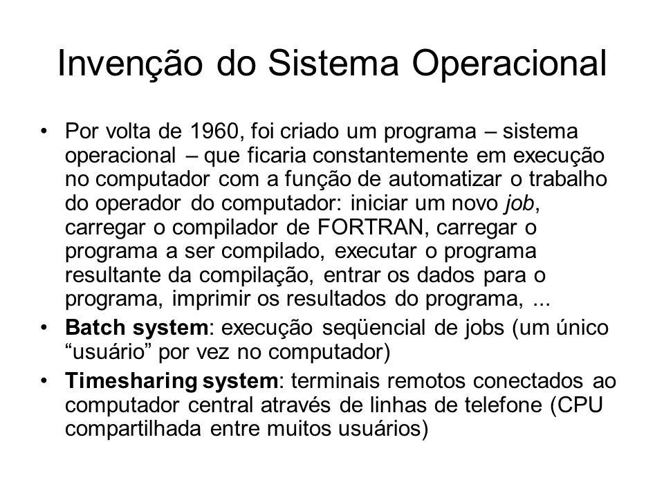 Invenção do Sistema Operacional Por volta de 1960, foi criado um programa – sistema operacional – que ficaria constantemente em execução no computador