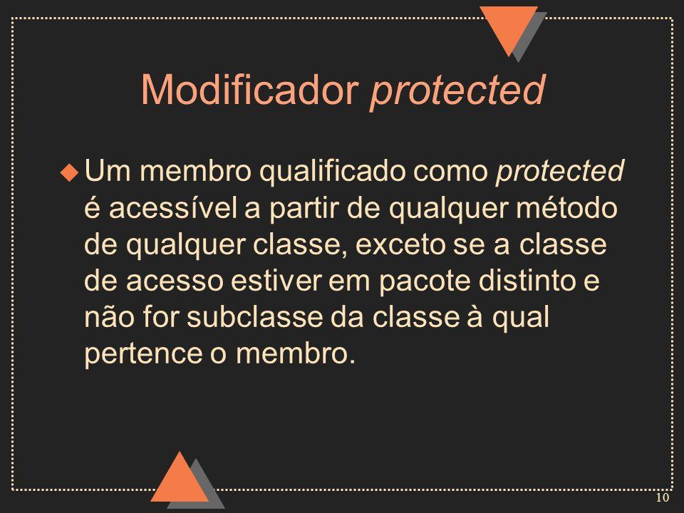 10 Modificador protected u Um membro qualificado como protected é acessível a partir de qualquer método de qualquer classe, exceto se a classe de aces