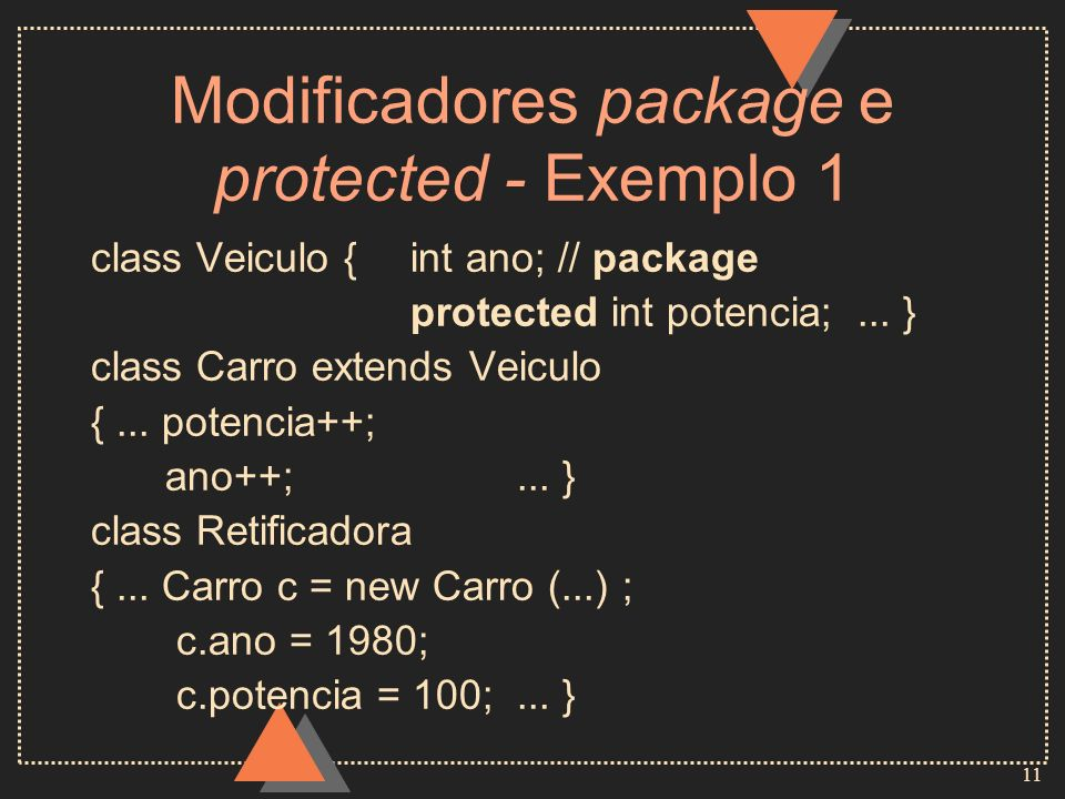 11 Modificadores package e protected - Exemplo 1 class Veiculo { int ano; // package protected int potencia;... } class Carro extends Veiculo {... pot